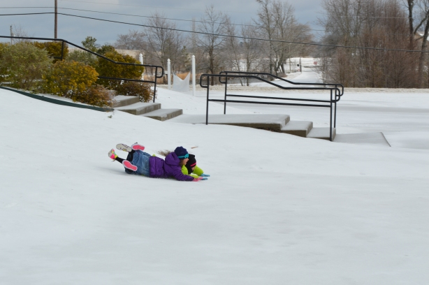 Girls sliding